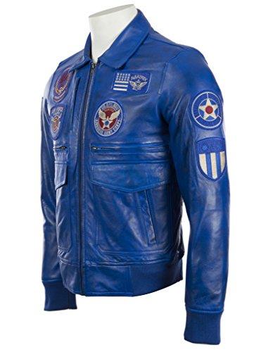 genuina la con de de elegante cuero chaqueta La ultra super por aviación de divisas MDK suave 100 los las Azul hombres wXxqa17p