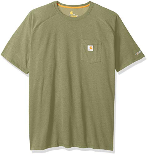 Carhartt Men's Big-Tall Force Cotton Delmont Short Sleeve T-Shirt (Regular and Big-Tall & Tall Sizes), Oil green heather, 3X-Large
