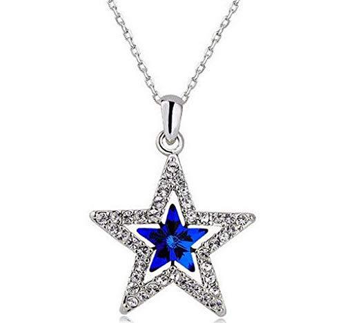 hinestone Five-Pointed Star Silver Chain Pendant Necklace пјЃпјЃ ()