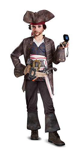 Endless Road 22901 Kids 10-12 Captain Jack Sparrow Deluxe Boys Pirates of The Caribbean Costume ()
