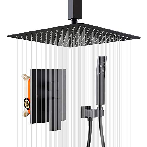 KOJOX 12 Inch Ceiling Shower System Bathroom Luxury rain shower head with handheld and Trim Kit Mixer Shower Combo Set Matte Black(Valve Include)