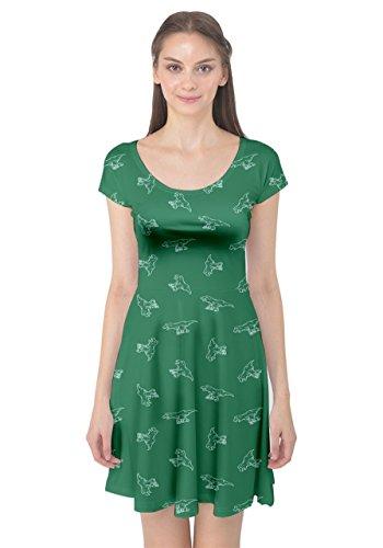 XS Silhouettes Tyrannosaurus Dress Womens Cap Pattern Stylish 5XL Green CowCow Dinosaur Sleeve x8Pw7