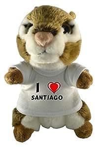 Ardilla americana de peluche (juguete) con Amo Santiago en la camiseta (nombre de pila/apellido/apodo)