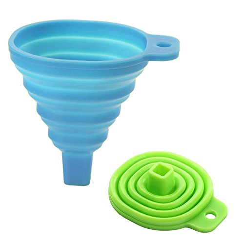 Colossal ship Silicone Collapsible Funnels 100% Food Grade Funnel Set of 2 , Kitchen Gadget Professional Foldable Funnel for Transferring of Liquid, Dry Ingredients (Blue+Green)