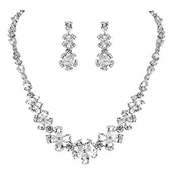 Clearine Women's Wedding Bridal Cubic Zirconia Multi Flower Collar Necklace Dangle Earrings Set Clear Silver-Tone