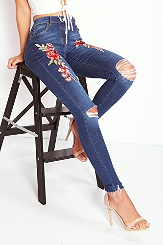 Leggings Dchirs Femme Crayon Broderie Imprim Slim Taille Darkblue Jeans Fit Collant Haute Denim YACUN Vintage SOxnvqBB