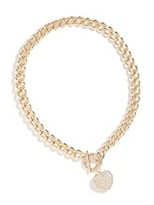 GUESS Factory Women's Gold-Tone Rhinestone Heart Necklace