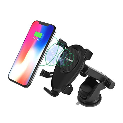 WANGOFUN Wireless Car Charger, Fast Charging Car Charger Mount 5W /10W Windshield Dashboard Vent Car Phone Holder Compatible with Samsung/iPhone