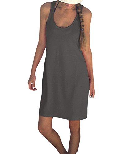 e832a09104414f Damen Weste Kleid Sommer Freizeit U-Neck Ärmellos Kurz Kleid Blusenkleider  Strandkleider Mode Einfarbig Shirt