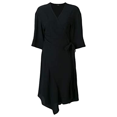 950058533ea0 Amazon.com  Theory Womens Kimono Crepe Wrap Dress Black 0 (S)  Clothing