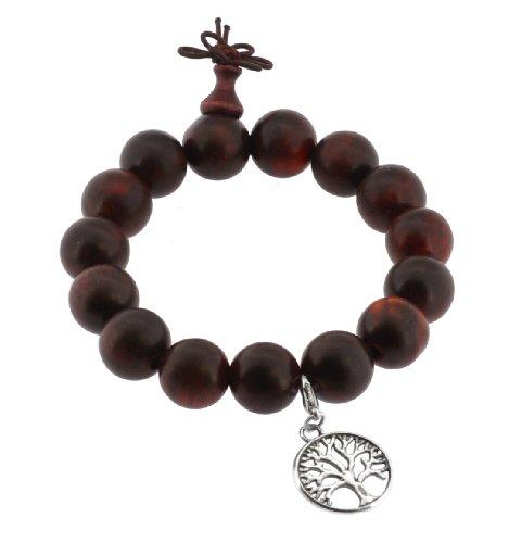 15mm Dark Wood Tree of Life Wrist Mala Prayer Beads with Silver Tone Tree of Life Charm