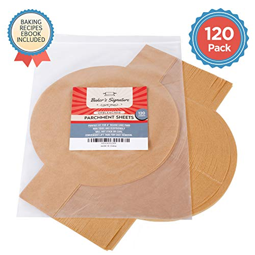 9 Inch Rounds Pack of 120 Parchment Paper Baking Sheets by Baker's Signature | Precut Silicone Coated & Unbleached – Will Not Curl or Burn – Non-Toxic & Comes in Convenient Packaging – The Super Cheap