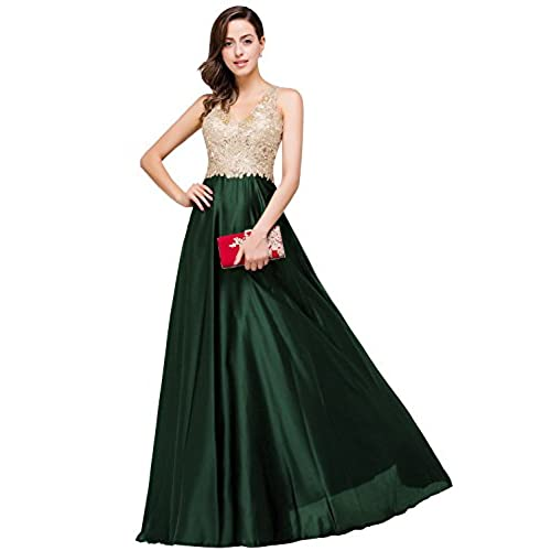 Babyonlinedress Embroidery Golden Pearl Beaded Formal Dresses For Women,Green,6