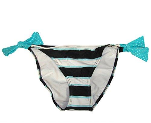 Hula Honey Women's Striped Bikini Bottom with Side Ties (Large, Blue)