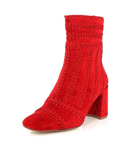 Jeffrey Campbell Womens Grateful Ankle Red Suede Boot - 7.5 ()