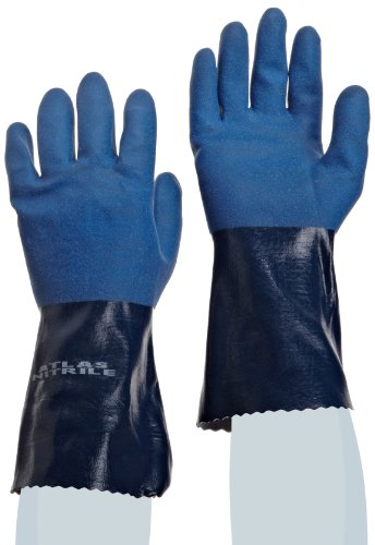 SHOWA Atlas 720 Fully Coated Nitrile Glove, Seamless Knitted Liner, Chemical Resistant, 12