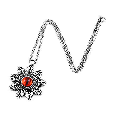 Davitu Steel Soldier Punk fire Design Style Rock Charm Pendant Necklace with red Stone Jewelry Stainless Steel Metal Color: with keel Chain