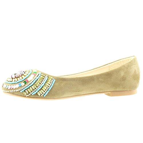Blocco Scarpe Gioielli on cm Ballerina Tacco Moda Perla Angkorly a Slip Donna 1 Verde vTqAwwd