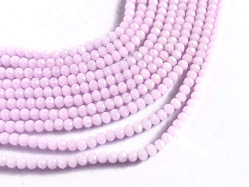 (The Design Cart Translucent Pink Opaque Tyre/Rondelle Faceted Crystal Beads (2 mm) (1 String) for - Jewellery Making, Beading, Embroidery, Art and Craft)
