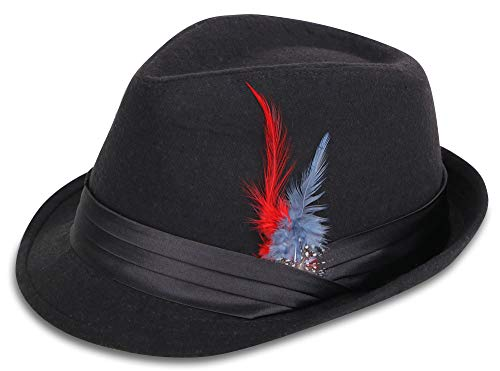 Simplicity Short Brim Teardrop Crown Wool Blend Fedora Hat 3076_Black/Red]()
