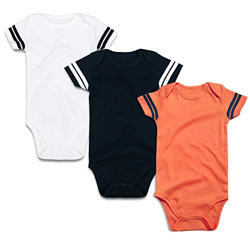 ROMPERINBOX Infant Solid Baby Football Sport Jersey Bodysuits 3 Pack 0-24 Months (18-24 Months, Sports Black White Orange Short Sleeve 3 Pack)