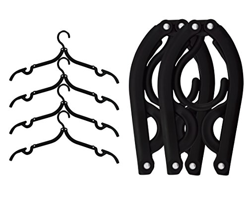 6 Pack of Ipow Black Plastic Foldable Travel Home Camping Mini Non-slip Clothes Shirts Sweaters Dress Hanger Hook Drying Rack (Clothes Travel Hanger compare prices)