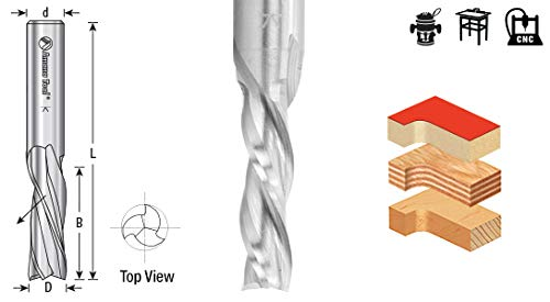 46218 Solid Carbide Spiral Plunge 1//2 Dia x 2 x 1//2 Shank Down-Cut Amana Tool 3-Fl