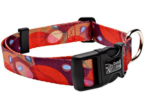 Dutch Dog Amsterdam Fashion Dog Collar, 20 to 25-Inch, Ruby Harvest