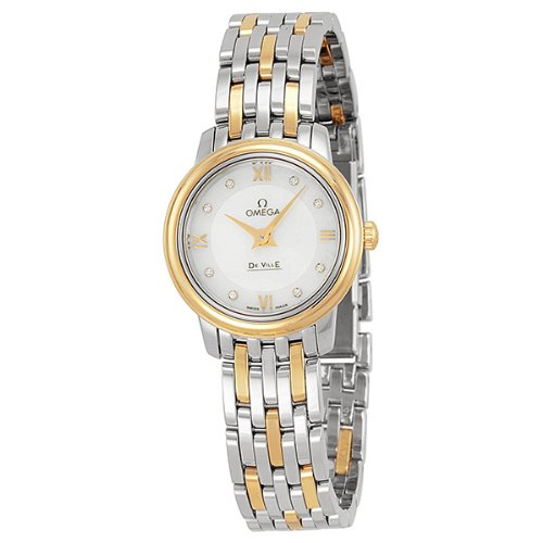 Amazon.com: Omega DeVille Prestige Mother of Pearl Diamond Steel and Yellow Gold Ladies Watch 42420246055001: Omega: Watches