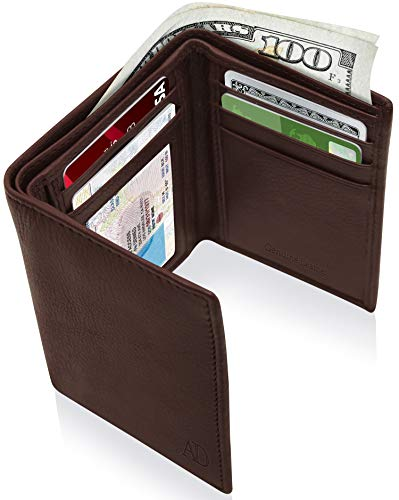 Brown Leather Tri Fold Wallet - Genuine Leather Wallets For Men - Trifold Mens Wallet With ID Window RFID Blocking,Coffee Bean