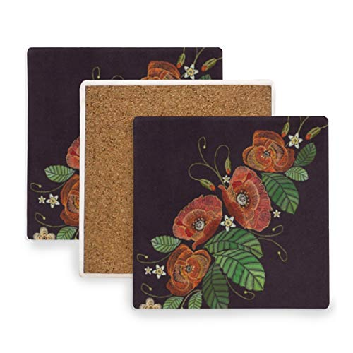 Poppy Flowers Leaf Embroidery Coasters, Prevent Furniture from Dirty and Scratched, Square Cork Coasters Set Suitable for Kinds of Mugs and Cups, Living Room Decorations Gift Set of 2