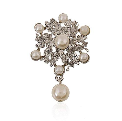 Hosaire Girl's Delicate Pearl Wreath Brooch Pin With Rhinostone Women's Fashion Jewelry (Wreath Pearl Brooch)