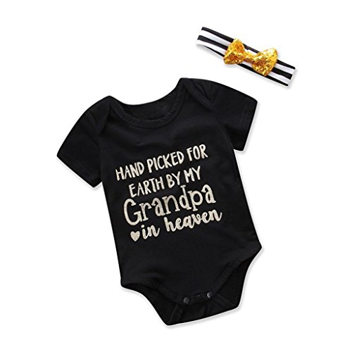 Aniywn Charming Baby Print Letter Short Sleeve Halter Jumpsuit+Hair Ribbon Suit (18M, Black (Prince Charming Costume 18 Months)
