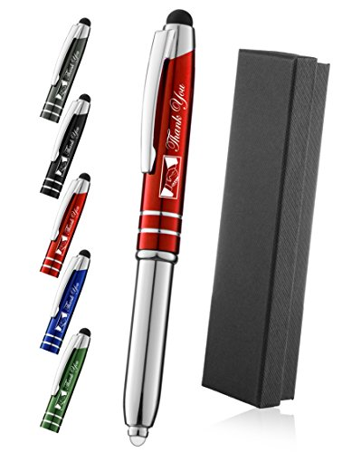 Thank You Gift Pen for Your Boss Coworker Wife Husband Dad Mom Doctor, 3 in1 Stylus+Metal Ballpoint Pen+LED Flashlight-Compatible With Most Phones and Touch Screen Devices,Red