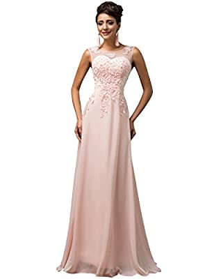 GRACE KARIN Chiffon V Back Evening Dresses Long Prom Gown With Beads Appliques