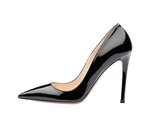 Guoar Mujeres Stiletto Zapatos De Tacón Alto De Las Mujeres Del Dedo Del Pie Bombas Sólidas Para El Vestido De Fiesta De Trabajo Party B-black Patent