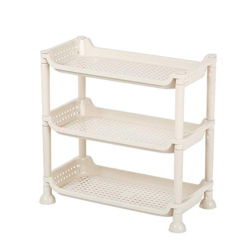 Mabalo Shelf Shelving Unit Tool Shelves Storage Rack Utility Storage Shelf Table top Home Kitchen Organizer Spices and DVD Storage Rack for Apartment(Beige, 3-Tier S)