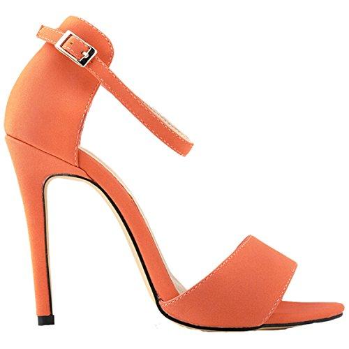 Win8Fong - Sandalias de vestir para mujer Naranja - naranja