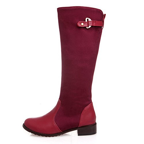 BalaMasa Womens Square Heels Buckle Zipper Soft Material Boots Red AWOyqS