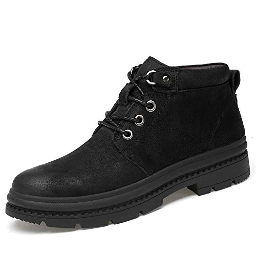 Warm noir 44 EU Sunny&  Bottines pour Hommes Décontracté mode High Top Toe Cravate à Bout Rond avec Chaussures de Travail Semelle extérieure Durable (Couleur   Warm noir, Taille   44 EU)
