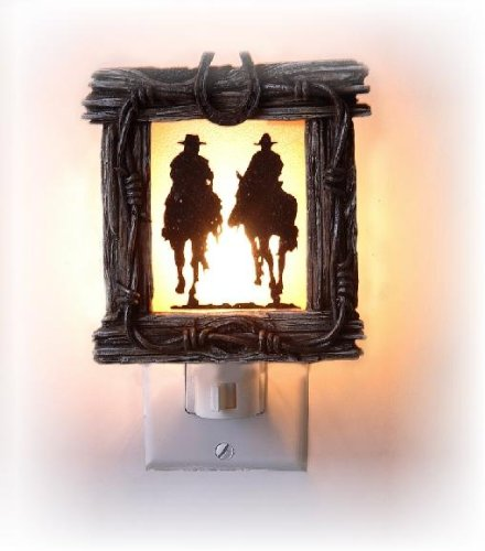 4.5 Inch Wooden Design with Riding Cowboys Silhouette Night Light