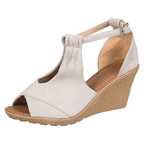 - LOVESOO❤ Women's Classic Wedge Sandal Soft Ankle-Strap Platform Sandals Hollow Open Toe Espadrilles Heel Sandals Beige