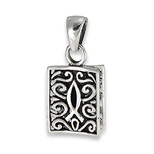 Filigree Icthus Pendant .925 Sterling Silver Ornate Religious Scroll Fish Charm