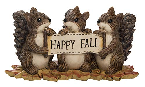 Transpac Imports, Inc. Happy Fall Sharing Squirrels Natural Brown 7 x 4 Resin Stone Harvest Figurine