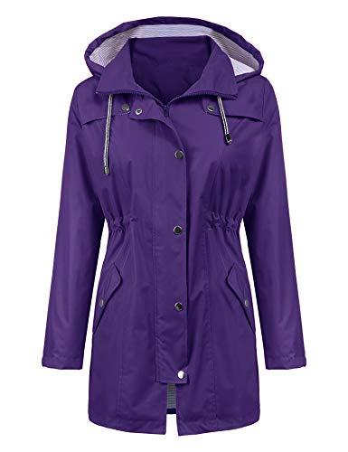 LOMON Raincoat Women Waterproof Long Hooded Trench Coats Lined Windbreaker Travel Jacket Purple XL
