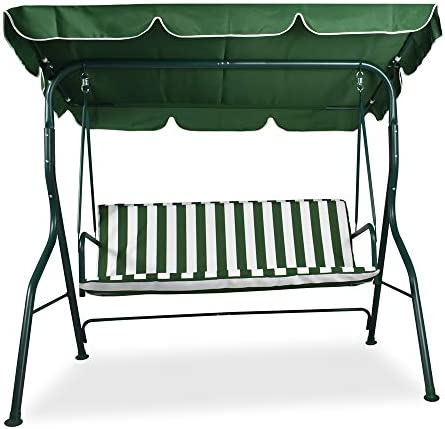 FRANKYSTAR Green 3 Seater Outdoor Garden Swing 170x110x152 Cm with Waterproof Anti-UV Roof Top Cover and comfortable resistant cushions.