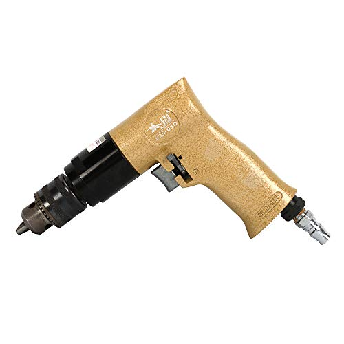 Reversible Pneumatic Drill Compressor 1.5-10mm Chuck Capacity Air Drill Tool for Metal, Plastic Products Powerful Drilling and Threading 3/8' 0.375' Reversible Air Drill