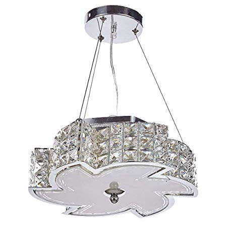 - Diamond Life Modern LED Crystal Chandelier Pendant Hanging or Flush Mount Ceiling Lighting Fixture, 3 light colors in one Smart Lamp, #506