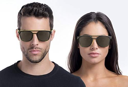 PRIVÉ REVAUX Places We Love Collection''The Zona'' Polarized Handcrafted Designer Square Sunglasses (Olive Green/Gold Mirror) by PRIVÉ REVAUX (Image #3)