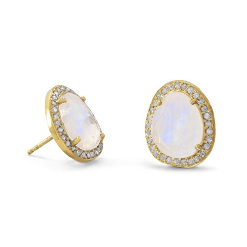 14k Gold Plated Sterling Silver Rainbow Moonstone and Gray Diamond Stud (Diamond Moonstone Earrings)